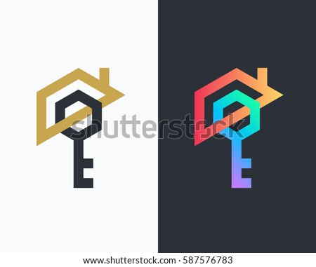 Geometrical house and key logo, icon. Clean design real estate security symbol.