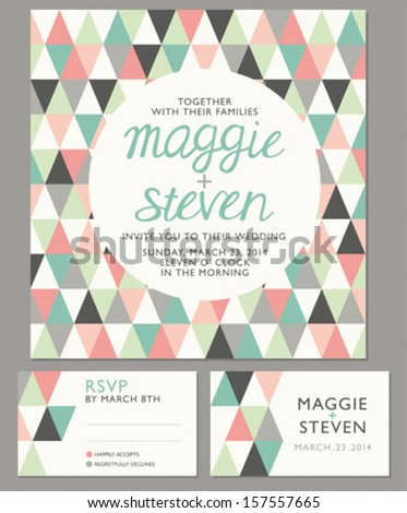 Geometrical invitation set - 1 - stock vector