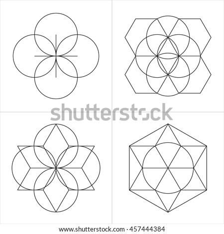 geometrical line ornaments set