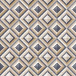Geometrical pattern in dark gray&golden colors, seamless vector background.