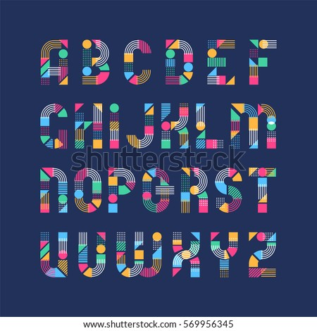 Geometrical shapes', lines and color blocks' latin font, pop art graphical decorative type