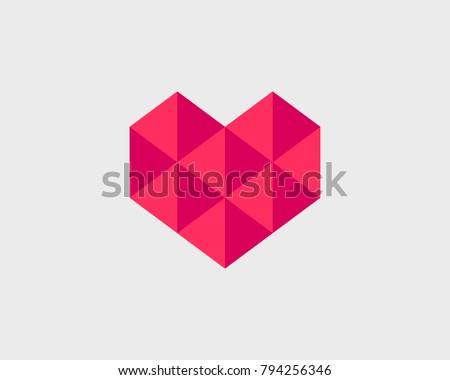 Geometrical stylized heart with triangles. Vector heart icon.