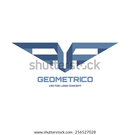Geometrico vector logo concept illustration Abstract geometric wings logo Vector logo template Design element