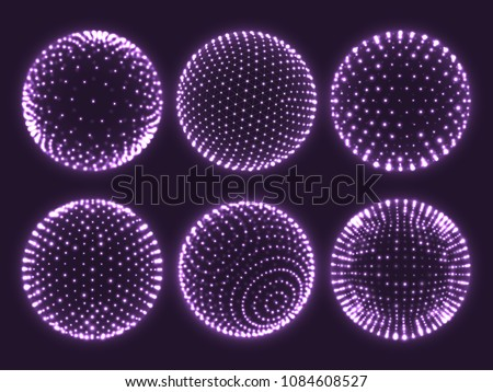 Geometry grid 3d sphere with light dots, atom orb, science chart of particles or virtual reality ball icon. Abstract spheres vector set