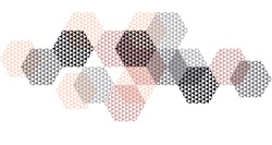 Geometry header in pastel color vector illustration. Concept triangle and hexagon pattern for surface design. Abstract pattern in black, pastel pink and gray on white background.  flat composition