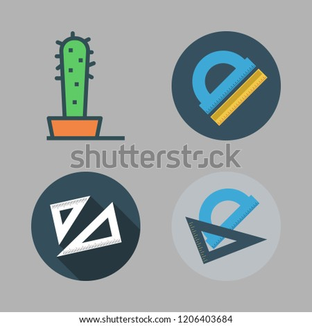 geometry icon set. vector set about set square, cactus and protractor icons set.
