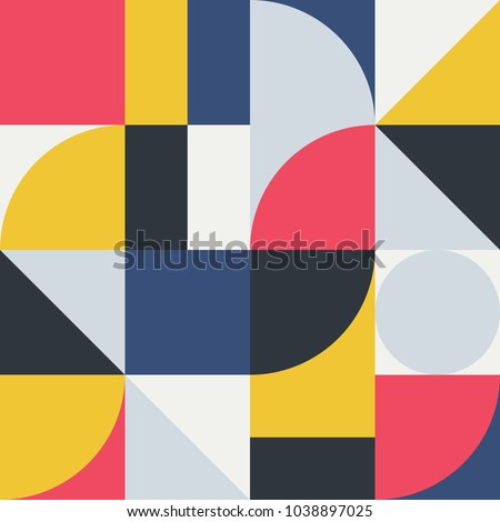 Geometry minimalistic artwork poster with simple shape and figure. Abstract vector pattern design in Scandinavian style for web banner, business presentation, branding package, fabric print, wallpaper - Shutterstock ID 1038897025