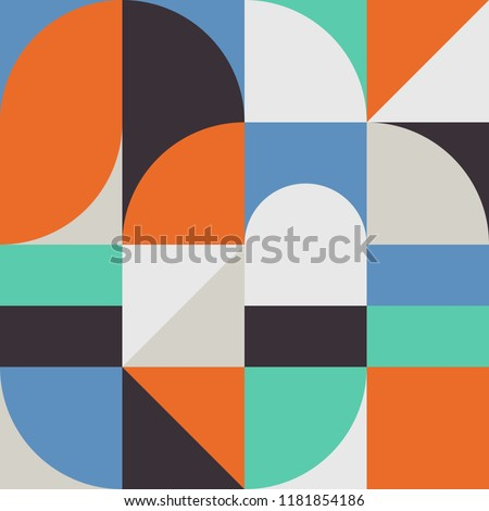 Geometry minimalistic artwork poster with simple shapes and figures. Abstract vector pattern design in Scandinavian style for branding, web banner, business, fashion, prints on fabric, wallpaper.