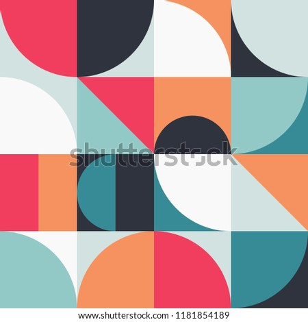 Geometry minimalistic artwork poster with simple shapes and figures. Abstract vector pattern design in Scandinavian style for branding, web banner, business presentation, prints on fabric, wallpaper.