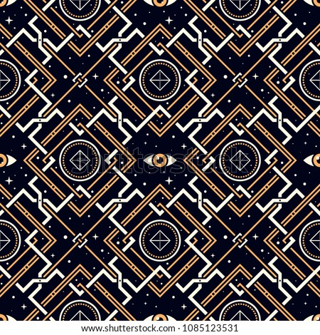 Geometry of Forgotten Gods. Seamless pattern with stars, magic eyes, and golden lattice in esoteric style. Alchemy, space, spirituality, mysticism.