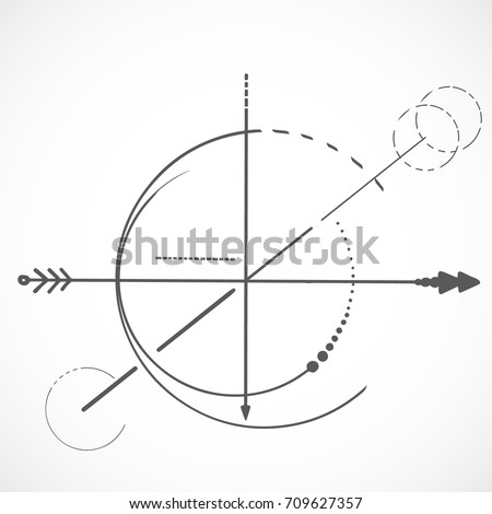 Geometry scheme sacred line circle symbol on white background and arrow