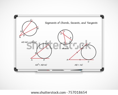 Geometry: Segments of Chords, Secants, and Tangents. Mathematical formula equations on a whiteboard.