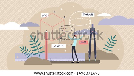 Geometry vector illustration. Flat tiny mathematics study persons concept. Shape, size and figures research with measurement instruments. Student knowledge learning with technical trigonometry axioms.