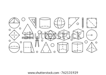 Geometry vector line horizontal illustration made with geometric shapes icons on white background