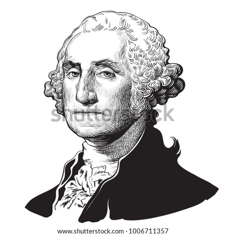 George Washington, the first President of the United States . Hand drawn vector portrait.