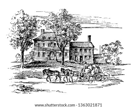George Washington use house of Mr.Jacob Ford,Jr. as his Headquarter during 1779-80 vintage line drawing.