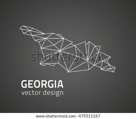 georgia black vector contour map