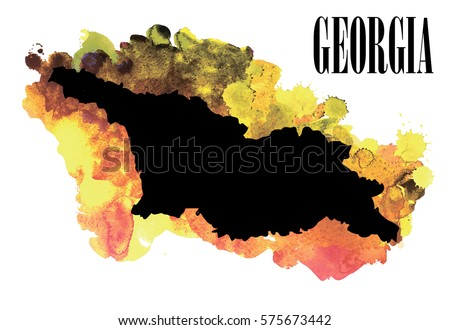 Georgia. High detailed vector maps. Spray watercolor paint.