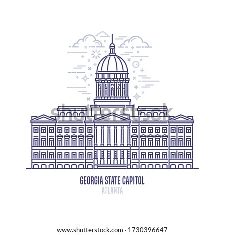 Georgia State Capitol located in Atlanta, United States. The state capitol building and government of U.S. state Georgia. The great example of  Classical Revival style. City sight linear vector logo