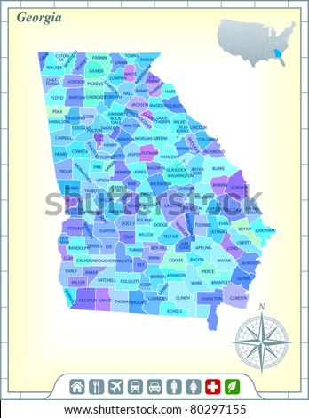 Georgia State Map with Community Assistance and Activates Icons Original Illustration