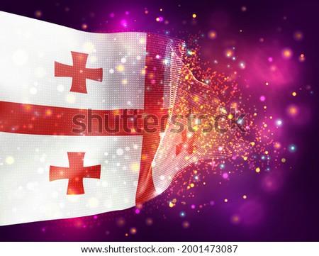 georgia  vector 3d flag on pink