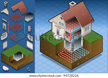 geothermal heat pump under floor heating diagram
