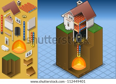 geothermal heat pump/underfloorheating with magma diagram