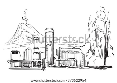 Geothermal power station. Sketch imitating chalk drawing on a blackboard. Sketch is isolated on a separate layer. EPS10 vector illustration.