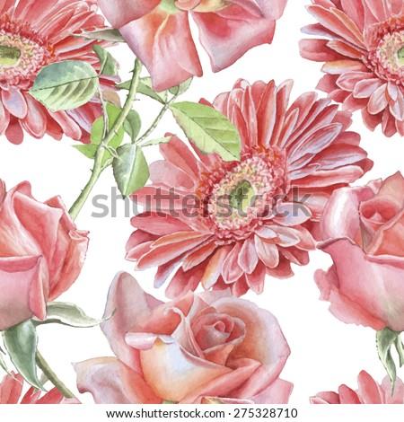 gerbera and rose seamless