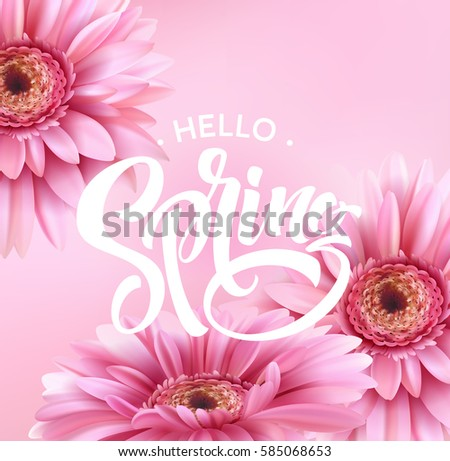 Gerbera Flower Background and Spring Lettering. Vector Illustration EPS10 #585068653