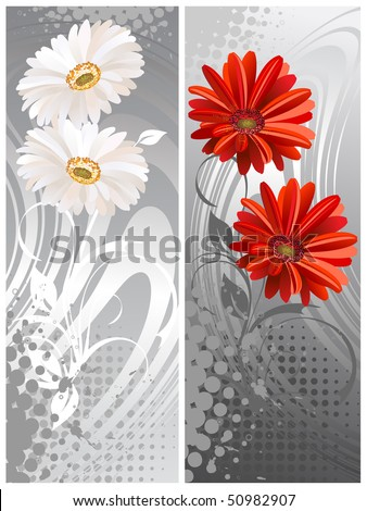gerbera flowers, two bannera.Vektor illustration