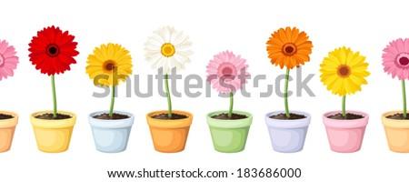 gerbera in pots vector