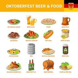 German annual oktoberfest traditional food snacks and beer flat icons collection with crayfish abstract isolated vector illustration
