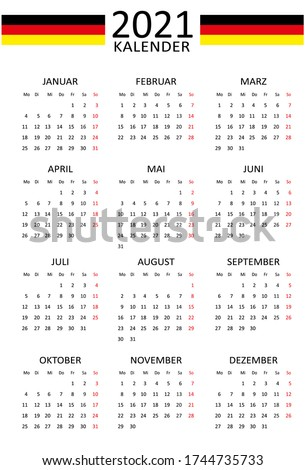 German calendar for 2021. 12 months on one page. Weekend start from Monday. Clean and transparent style. Monochrome Calendar Layout. Red Sunday. Stock foto ©