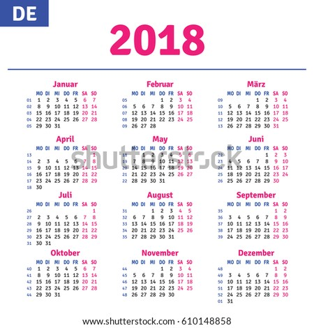 German calendar 2018, horizontal calendar grid, vector