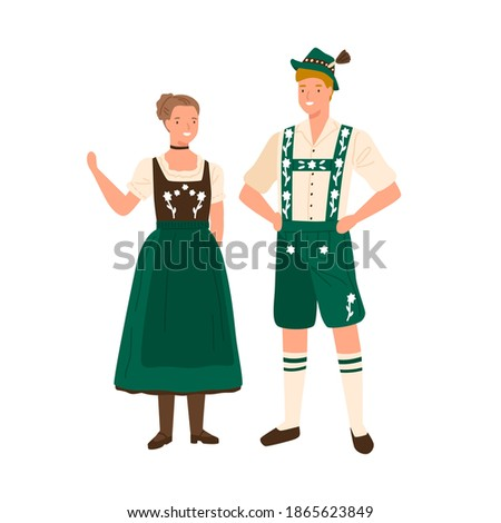 German couple wearing traditional bavarian costumes. Man in national folk shorts, suspenders and hat. Woman in ornamented dress decorated with embroidery. Flat vector illustration isolated on white Foto stock ©