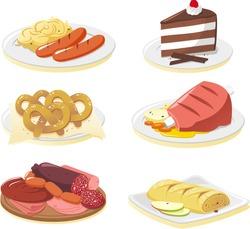 German cuisine dishes cartoon illustration set