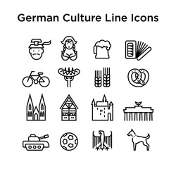 German Culture Icons, Culture Signs of Germany, Traditions of Germany, German Life, National Objects of Germany, Black Line Icons, Black Stroke Icons, German Culture Line Black Icons