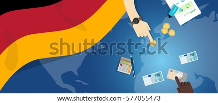 German economy fiscal money trade concept illustration of financial banking budget with flag map and currency