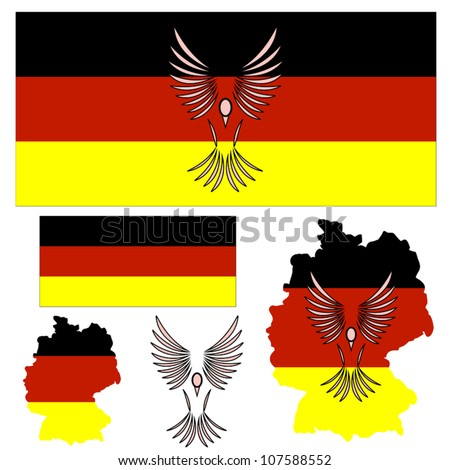 German flag and symbol of a bird and other elements