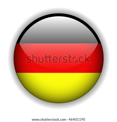 German flag glossy button, vector - stock vector