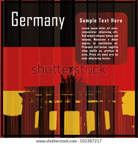 German flag on wooden background with the Brandenburg Gate and text