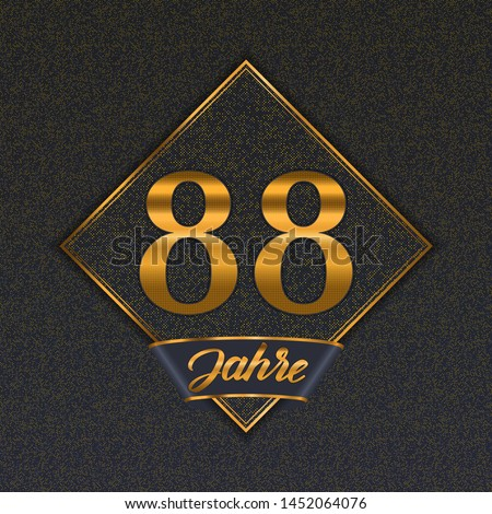 German golden number eighty-eight years (88 years) celebration design. Anniversary golden number with luxury backgrounds for your birthday party