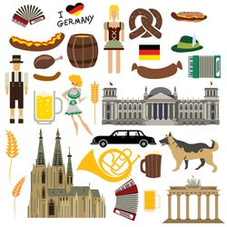 German Icon Collection, German Architecture, Food, Costume etc (Vector Art)
