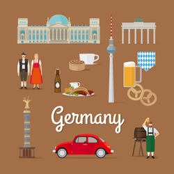 German Landmarks and Culture. Berlin in Germany vector illustration. Traditional costume.