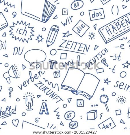 German language pattern. Deutsch, Der, die, das, er, sie, es, ich, haben, zeiten, sein, zukunft, hallo, verben, du. Translation: German, the, he, she, it, me, have, times, be, future, hello, verb, you Stock foto ©