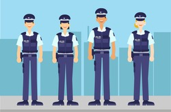 German Police officers standing characters model wardrobe with a happy expression