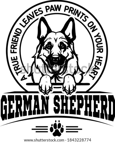 German Shepherd - Dog Happy Face Paw Puppy Pup Pet Clip Art K-9 Cop Police Logo SVG PNG Clipart Vector Cricut Cut Cutting Stockfoto ©