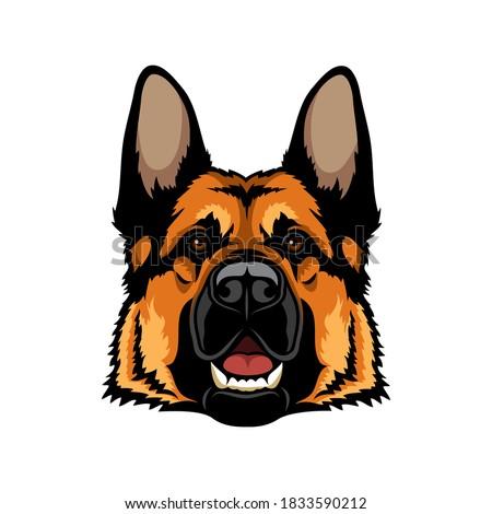 German Shepherd dog isolated outlined vector illustration Photo stock ©