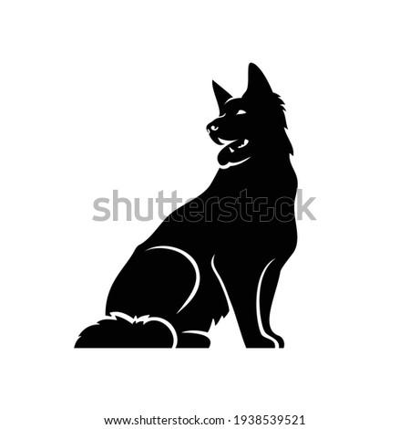 German Shepherd dog - isolated outlined vector illustration Foto stock ©